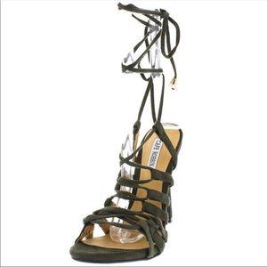 Cape Robbin Olive Tie-up Strappy Stilettos